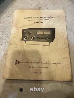 Ehrhorn ETO ALPHA 374A Bandpass HF Ham Radio Linear Amplifier Working (#86)