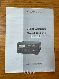 Kenwood TL-922A Ham Radio Tube Linear Amplifier Recently Serviced